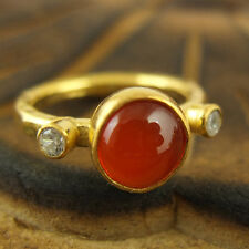 Handmade Hammered Designer Carnelian Ring W Topaz 24K Gold Over Sterling Silver