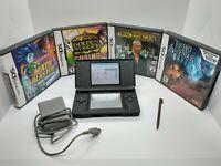 Nintendo DS Lite cobalt blue Handheld Console Bundle 4 Games Stylus Charger