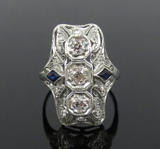 Antique 0.75ct Old Mine Cut Diamond & 0.30ct Sapphire Platinum Ring