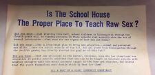 """IMPORTANT ORIGINAL 1968 Sex Education """"RAW SEX"""" Hand-Out WALLACE FOR PRESIDENT"""