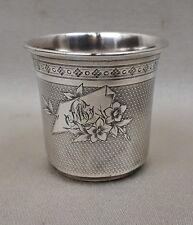 ANCIENNE PETITE TIMBALE ARGENT MASSIF  gobelet verre minerve CM  silver cup