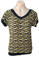 DKNY SIZE S V- NECK GEOMETRICAL DESIGN  STRETCH TOP AS NEW