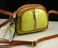 Valentina Made in Italy Chartreuse Italian Leather Small Cross Body Hand Bag NWT