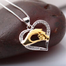 Mom Pendant Necklace 925 Sterling Silver Plated Women's Wedding Party Gift S02