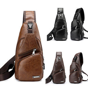 Men PU Leather Sling Chest Vintage Crossbody Camping Bags + USB Charging Port AU