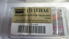 DAYTON 1EHA6 Octal Relay, BUTTON, LED 3PDT-16 AMP 120 VAC NIB