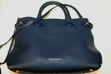 BURBERRY Shoulder Bag House Check Banner Tote Ink Blue Convertible Satchel