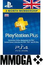 PlayStation Plus 90 Day Subscription UK Code - Sony PSN 3 Month PS 3/4/Vita - UK