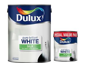 Dulux Silk Emulsion Paint Pure Brilliant White Interior Walls & Ceilings 5L/3L