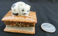 Limoges Hand Painted Kitty Cat on a Book Trinket Box France Peint Main Signed