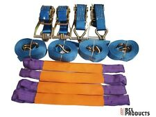 4 x Recovery Wheel Strap Set - 5 Tonne Ratchet Strap With Polyester Wheel Straps