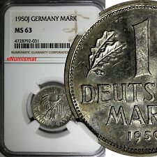 Germany-Federal Republic 1950 J 1 Mark NGC MS63 BETTER DATE 1st TYPE KM#110(031)