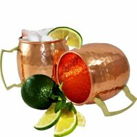 Pure Copper Moscow Mule Mug Set of 2 Valentine Gifts Barware Vodka Whisky Beer