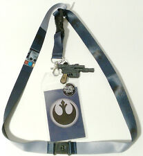 Rebel Han Solo Star Wars Deluxe Lanyard w Rubber Charm & ID Card-Licensed