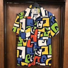 New listing Vintage 1960'S Tiki Pop Art Mod Cotton Hawaiian Shirt -Deadstock- M
