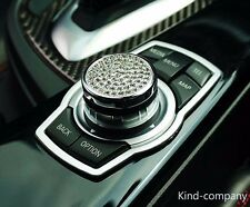 1*sliver aluminium Car Multimedia Rotating Button Steel Decoration Ring for BMW