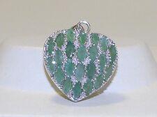 GENUINE! 3.96tcw Emerald Filigree Puffy Heart Pendant, Solid Silver 925!