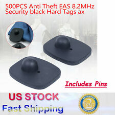 500Pcs Anti Theft Eas 8.2Mhz Security Black Hard Tags Anti-theft Buckle w/Pins