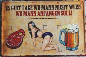 Blechschild, 20 x 30 cm, Mann, Fleisch, Frau, Bier entscheiden, FUN, Neu,  OVP