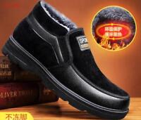 winter Mens warm slip on Thicken fur lined Casual non slip Snow cotton shoes