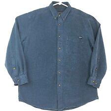 Woolrich Mens L Midnight Blue Heather L/S Button-Down Heavyweight Flannel Shirt