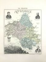 1893 Antique Map of Aveyron Rodez France French Regional Hand Coloured