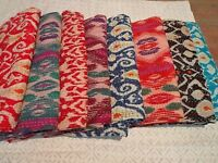 Indian Handmade Quilt Vintage Kantha Bedspread Throw Cotton Blanket Gudri
