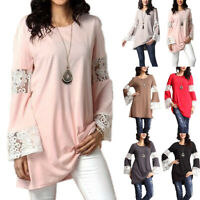 Womens Lace Crochet Long Bell Sleeve Tunic Tops Summer Blouse T-Shirts Plus Size