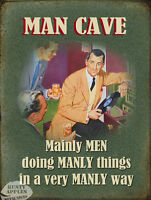 MAN CAVE MANLY THINGS: FUNNY RETRO VINTAGE STYLE WALL METAL SIGN HOME DECOR GIFT
