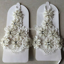 New Lace Fingerless Ivory Bridal Gloves Wedding Gloves Pearls and Crystals Real