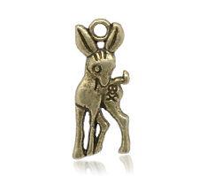 10 Pcs Antique Bronze Deer Charm Pendants 19x8mm LC1887