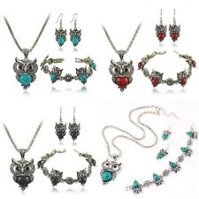 Woman Jewelry Set Turquoise Owl Hook Earrings Pendant Necklace Bracelet AT