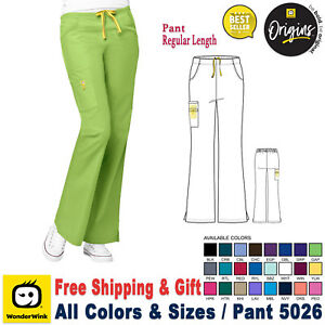 WonderWink Scrubs ORIGINS Women's Lady Fit Flare Leg Cargo Pant Regular XXS-5X