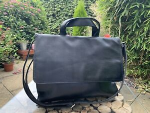 Black Satchel Work Bag Medium Faux Leather Adjustable Strap Unisex 35x28x9cm