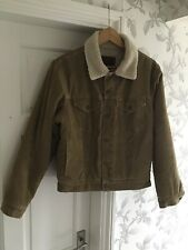 Ralph Lauren Polo Jeans Mens Beige Cord Jacket Size Small With Fleece Lining
