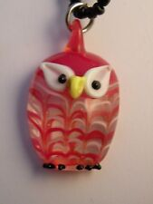 pmdrC LAMPWORK BLOWN GLASS OWL PENDANT ON BEAD CHAIN NECKLACE