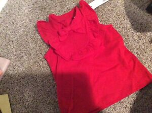 Janie And Jack Toddler Girl Brand New Red Sleeveless Blouse 2 T