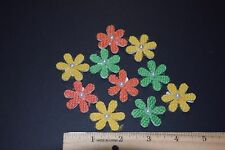 30  BURLAP DAISY FLOWERS CRAFTS SCRAPBOOKING EMBELLISHMENTS YELLOW GREEN ORANGE