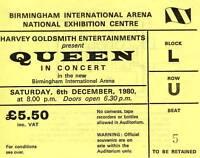 Queen Concert Ticket 6 December 1980 Birmingham NEC UK - original