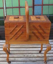 antique sewing box 30's - Antiker Nähkasten Näh Utensilien Box auf Rollen ~ 30er