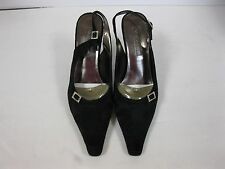 Nine West 9.5 Flutterby Black Fabric Sling Back High Heel Shoes w/buckle.