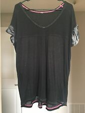 Free People Oversized Black Gray Burn Out Tee Shirt Beach Cover up XS S M 0 2 4