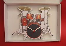 Drum Kit Wall Clock Black & Orange Wooden Music Gift Musician Country Rock Band