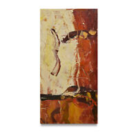 NY Art - Thick Red & Brown Modern Abstract 12x24 Original Oil Painting on Canvas