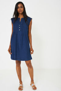 Ladies DENIM DRESS WITH RUFFLE SLEEVE EX BRAND sizes 6 8 10 12 14 16