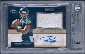 RUSSELL WILSON 2012 PROMINENCE UNLIMITED POTENTIAL MATERIALS SIG BGS 9/AU 10