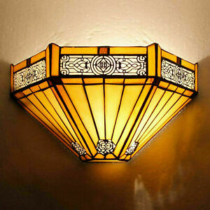 Tiffany Yellow Hexagon Style Wall Light Handcrafted Stained Glass Uplighter Lamp