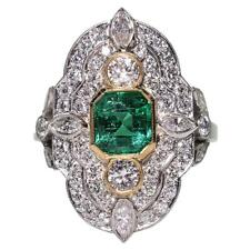 Cubic Zirconia 2.92 Carat  Art Deco Emerald Engagement Ring 925 Sterling Silver