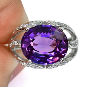 PURPLE SAPPHIRE OVAL RING HEATING SILVER 925 7.65 CT 13X11 MM. SIZE 6.75
