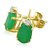 14K YELLOW GOLD 1.75CT GENUINE OVAL EMERALD AND DIAMOND STUD EARRINGS